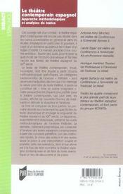 Theatre Espagnol Contemporain - 4ème de couverture - Format classique