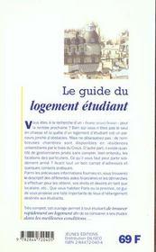 Guide du logement etudiant - 4ème de couverture - Format classique