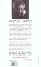 L'erreur de Descartes ; la raison des émotions - 4ème de couverture - Format classique
