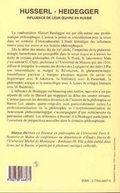 Husserl-Heidegger, Influence De Leur Oeuvre En Russie - 4ème de couverture - Format classique