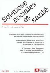 Revue sciences sociales et sante t.18 n.1 - Intérieur - Format classique