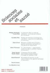 Revue sciences sociales et sante t.18 n.1 - 4ème de couverture - Format classique