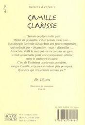 Camille clarisse - 4ème de couverture - Format classique