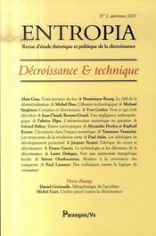 Entropia ; Décroissance Et Technique - Intérieur - Format classique