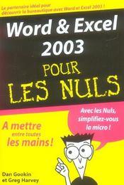 Word 2003 et excel 2003 pour les nuls - Intérieur - Format classique