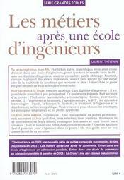 Les Métiers Après Une Ecole D'Ingénieurs. 50 Métiers Ouverts Aux Jeunes Diplômés,... - 4ème de couverture - Format classique