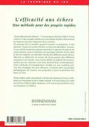 Efficacite Aux Echecs - 4ème de couverture - Format classique