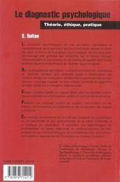 Le Diagnostic Psychologique ; Theorie, Ethique, Pratique - 4ème de couverture - Format classique