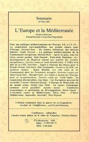 L'Europe Et La Mediterranee - 4ème de couverture - Format classique
