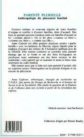 Parente Plurielle ; Anthropologie Du Placement Familial - 4ème de couverture - Format classique