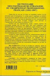 Dictionnaire Des Footballeurs Etrangers Du Championnat Professionnel Francais, 1932-1997 - 4ème de couverture - Format classique