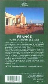 Hôtels et auberges de charme en france (édition 2007) - 4ème de couverture - Format classique