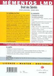 Droit des suretés - 4ème de couverture - Format classique