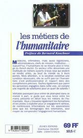 Les metiers de l'humanitaire ; 2e edition - 4ème de couverture - Format classique