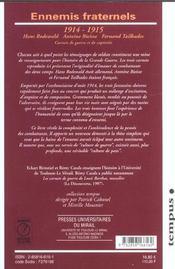 Ennemis Fraternels - 4ème de couverture - Format classique