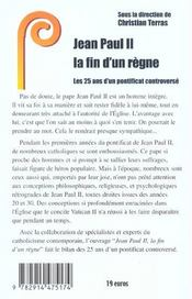 Jean Paul Ii ; La Fin D'Un Regne - 4ème de couverture - Format classique