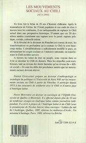 Les Mouvements Sociaux Au Chili, 1973-1993 - 4ème de couverture - Format classique