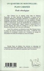 Un Quartier De Montpellier : Plan Cabanes: Etude Ethnologique - 4ème de couverture - Format classique