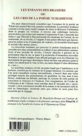 Les Enfants Des Brasiers Ou Les Cris De La Poesie Tchadienne - 4ème de couverture - Format classique