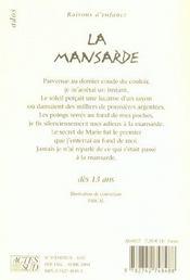 La mansarde - 4ème de couverture - Format classique