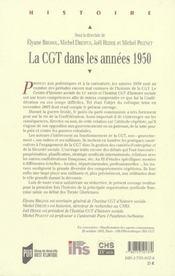Cgt Dans Les Annees 50 - 4ème de couverture - Format classique