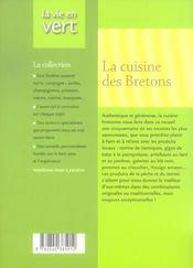 La cuisine des bretons - 4ème de couverture - Format classique