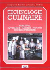 Technologie culinaire ; personnel, équipement, matériel, produits, hygiène et sécurité - Intérieur - Format classique