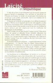 Laicite Et Republique - 4ème de couverture - Format classique
