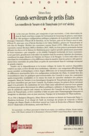 Grands serviteurs de petits états ; les conseillers de Navarre et de Transylvanie (XVIe-XVIIe siècles) - 4ème de couverture - Format classique