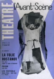 L'AVANT-SCENE - THEATRE N° 271 - LA FOLIE ROSTANOV de YVES GAAC d'après un roman de DOSTOIEVSKI - Couverture - Format classique