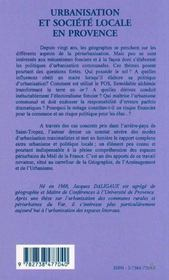 Urbanisation et société locale en Provence - 4ème de couverture - Format classique