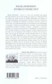 Malika Mokkedem ; Envers Et Contre Tout - 4ème de couverture - Format classique