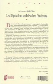 Les régulations sociales dans l'antiquité - 4ème de couverture - Format classique