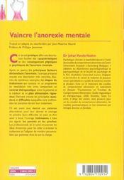Vaincre l'anorexie mentale - 4ème de couverture - Format classique