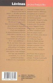 Levinas ; Le Passeur De Justice - 4ème de couverture - Format classique