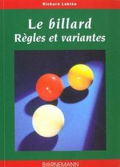 Billard Regles Et Variantes - Intérieur - Format classique
