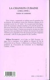 La Chanson Cubaine 1902-1959 ; Textes Et Contexte - 4ème de couverture - Format classique