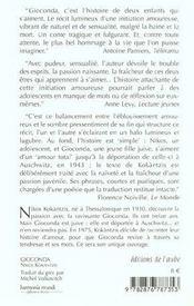 Gioconda - 4ème de couverture - Format classique
