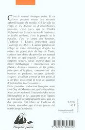 Le jardin parfumé ; manuel d'érotologie arabe du cheikh Nefzaoui - 4ème de couverture - Format classique