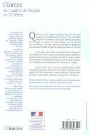 L'Europe du travail et de l'emploi en 70 fiches ; guide pratique des drh, partenaires sociaux, fonctionnaires, responsables politiques... - 4ème de couverture - Format classique