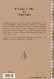 Premier Traite De Radietique - 4ème de couverture - Format classique