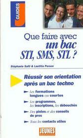 Que faire avec un bac stl, sti, sms - Intérieur - Format classique