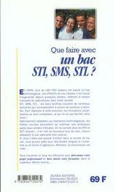 Que faire avec un bac stl, sti, sms - 4ème de couverture - Format classique