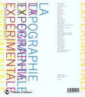 La typographie expérimentale - 4ème de couverture - Format classique