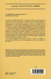 La Geographie Comme Genre De Vie - 4ème de couverture - Format classique