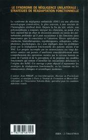 Le Syndrome De Negligence Unilaterale ; Strategies De Readaptation Fonctionnelle - 4ème de couverture - Format classique