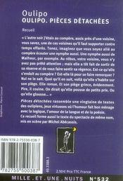 L'oulipo en pièces détachées - 4ème de couverture - Format classique