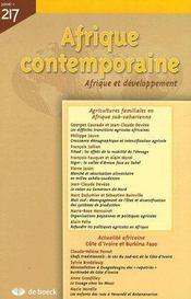 Afrique Contemporaine N.217 ; Agricultures Familiales En Afrique Sub-Saharienne (Edition 2006) - Couverture - Format classique