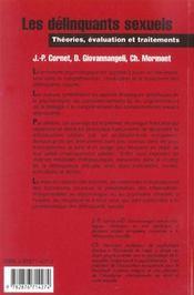 Les Delinquants Sexuels ; Theories, Evaluation Et Traitements - 4ème de couverture - Format classique