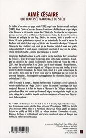 Aimé césaire, une traversée paradoxale du siècle - 4ème de couverture - Format classique